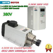 4KW ER32 Air Cooled Spindle Motor 380V 18000rpm 300Hz+5.5KW Inverter VFD CNC Kit