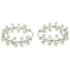 Petite 18K White Gold 1.02ctw Diamond In & Out Oval Huggie Hoop Branch Earrings