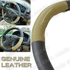 Cream Brown Beige Black Real Leather Car Steering Wheel Cover Glove