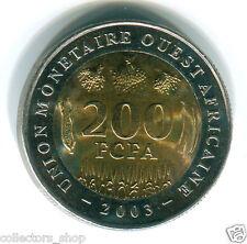 WEST AFRICAN STATES (WAS): RARE 200 Francs FCFA 2003 BI-METAL UNC bimettalic