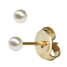 1 Paar Studex Erstohrstecker Ohrring vergoldet imitierte perle 5mm