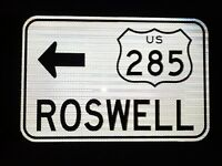 "US Highway 285 ROSWELL road sign 18""x12"" - New Mexico US 285, UFO"