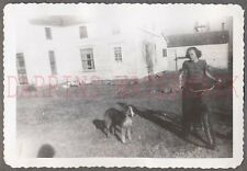 Vintage Snapshot Photo Pretty Girl w/ Bicycle Bike & Pet Collie Dog 686588