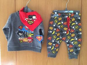 """Boys DC Comics Superman  Outfit 6-12 Months """"Get Ready For Action"""" BNWTS"""