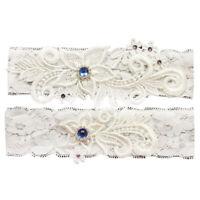 Wedding Bride Garter Belt Hand Made Lace Leg Garter Belt 2 Piece Set For Female