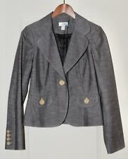 LOFT Ann Taylor Womens Sz 4 Blazer Career Suit Jacket Stitching Decor Brown
