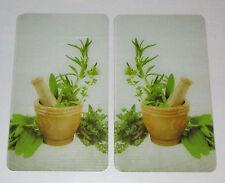 Herdabdeckplatten Kräuter, 2er Set - Glasabdeckplatten, Glas, Schneidebrett -NEU