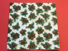 Vintage 1950's-1960's Embossed Christmas Wrapping Paper Pine Cones Greenery NOS