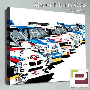 Group B Rally Car Canvas, Martini Lancia, 205 T16, Metro 6R4, Audi Quattro etc