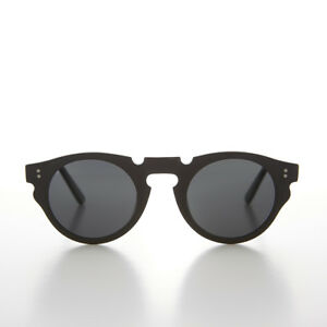 Round Hipster Sunglass with Gray Polarized Lens and Black Frame - Tisch