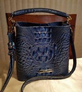 Brahmin Mini Amelia Blue Bonnet Melbourne Leather Bucket Crossbody