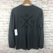 New Nixon Mens Medium Gray Black Logo Long Sleeve T-Shirt Tee