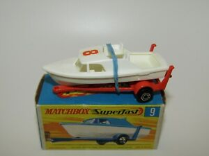 Matchbox Superfast No 9 Boat and Trailer White Boat 8 Label VVNMIB Very RARE