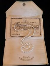 """Sterling Silver Akoya Pearl Cultured Graduated Strand Necklace Vintage 20"""" 4-7mm"""