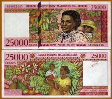 Madagascar 25000 (25,000) Francs ND (1998) PIck 82  A-Prefix UNC > Highest Den.