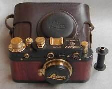 Leica III Luftwaffe copy black-gold-wood in leather case (FED copy)