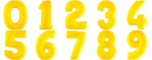 """40"""" YELLOW LARGE NUMBER AGE FOIL BALLOONS HELIUM 0-9 HAPPY BIRTHDAY PARTY"""