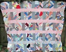 Antique FEEDSACK Quilt Top 100% Hand Stitched Cotton Scrap Crazy Patchwork 96x80