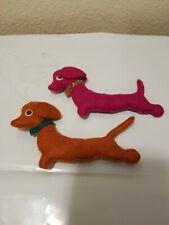 "2 Vintage Felt beaded Dashound dog Christmas Ornaments cute!! 5"""