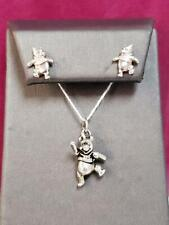 DISNEY Winnie the Pooh 925 Sterling Silver Pendant and Stud Earring Set PreOwned
