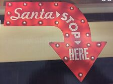 """New 24"""" Santa Stop Here Lighted Sign Outdoor Indoor Christmas Lights Red Holiday"""