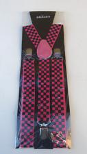 STYLISH FASHIONABLE MENS/LADIES PINK / BLACK CHECK BRACES SUSPENDERS 2.5cm