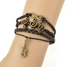 Vintage Leather Guitar Music Note Infinity Punk Bracelet New Fashion Jewelry _S
