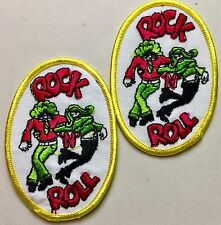 """1 Pair, Vintage """"Rock N Roll"""" Dancers, 2.5"""" by 3"""" Oval (2) Patches"""