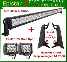 "50"" 288W + 4inch 18W LED Light Bar+ Mounting Brackets For 97-06 Jeep TJ Wrangler"