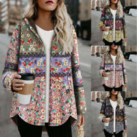 Plus Size Women Vintage Floral Printed Long Sleeve Button Hooded Coats Outwear