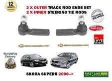 FOR SKODA SUPERB 2008-2015 2x OUTER + 2x INNER STEERING TRACK RACK TIE ROD ENDS