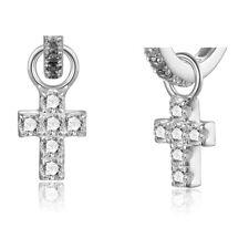 Einhänger Kreuz  Silber 925/000 mit 12 Zirkonia für Rohrcreolen