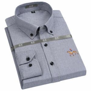 Mens Dress Shirts Formal Horse British Series Long Sleeves Casual Shirts Tops