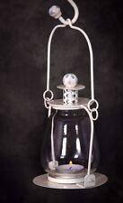 Cream Glass and Steel Hanging Garden Lantern Or Tea Light Holder