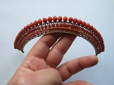 ANTIQUE GEORGIAN FACETED NATURAL RED CORAL PINCHBECK TIARA