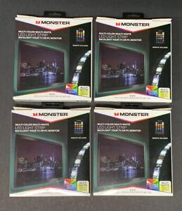 4x Monster Basics Multi-Color/Multi-White USB LED Light Strip 6.5ft With Remote