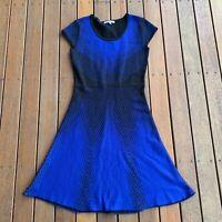 Sandra Darren Size MED Fit & Flare Dress Black & Blue Casual Stretch Wool Look