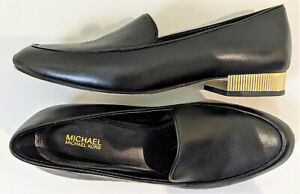 Michael Kors Women's Valerie Black Leather Loafers block heels size 7.5M