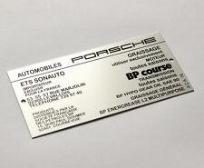Plaque information de graissage capot moteur Porsche 911 Sonauto