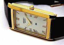 seiko quartz men's gold plated white dial japan made rectangle shape watch run