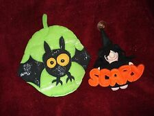 "Halloween Lot- Hanging Witch ""Scary"" suction cup 8"" & Lime Green Bat Pot Holder"