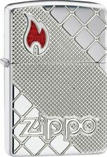 Zippo Armor High Polish Chrome Lighter, Deep Carved, Red Epoxy Flame, 29098