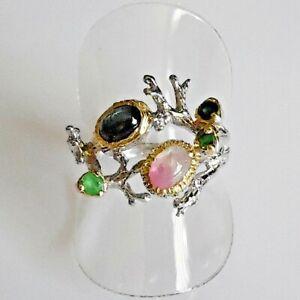 Unikat Cabochon Turmalin Smaragd Damen Ring 925er Silber Gelbgold 18,1 mm 57