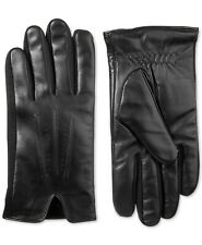 isotoner Mens Gloves Black Size Large L Touchscreen Winter Leather 203