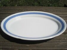 Arabia Finland Vtg Ribbons Blue Serving Platter Dish Plate Oval Stripe 12""