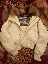 Dsquared down jacket white sz 44 fur