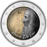 2 Euro Gedenkmünze mit Da Vinci coloriert mit Farbe  /  Farbmünze  italien
