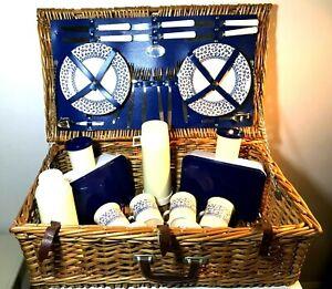 Vintage 6 Person Optima Wicker Picnic Hamper Basket with Contents