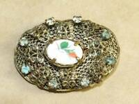 Vintage Art Nouveau Filigree Porcelain Painted Flower Pin Brooch
