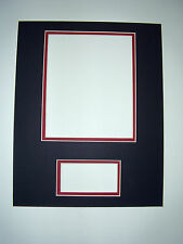 Photo Mat 11x14 multi opening for 8x10 photo and 1.5x4 black with red liner